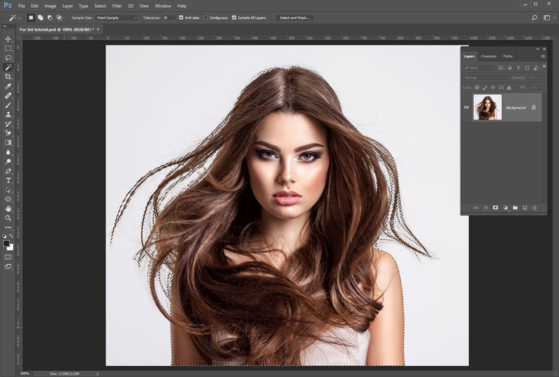 Make transparent Background of a Person Hair Using the Image Masking Technique